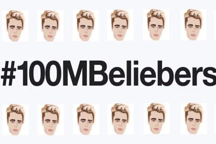 Justin Bieber llega a los 100 millones de seguidores y Twitter lo celebra con un emjoi