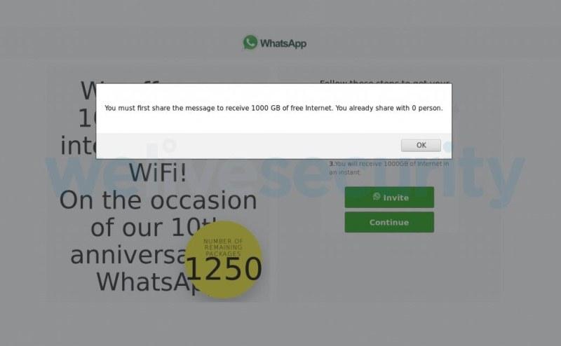 ESET alerta sobre un engaño que utiliza WhatsApp y ofrece 1000 GB para navegar por Internet