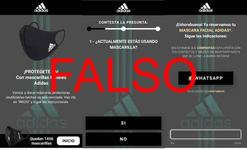 Engaño vía WhatsApp hace creer que Adidas está regalando tapabocas